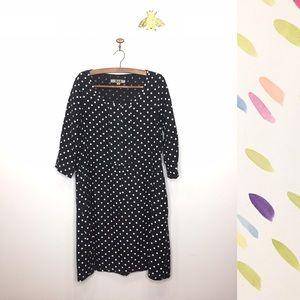 Flax black white polka dot dress pocket linen S